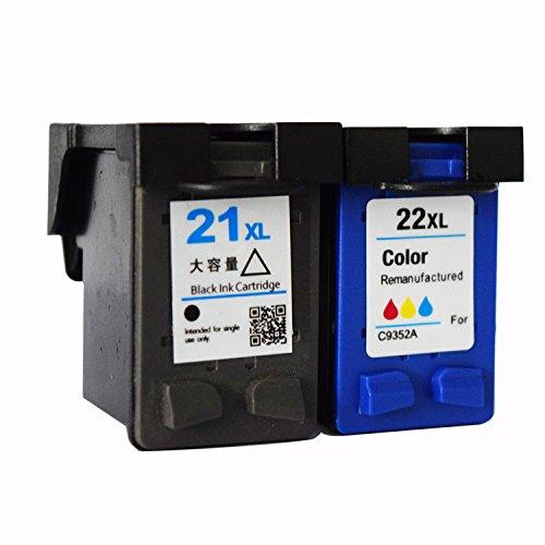 ouguan® de tinta compatibles HP 21X L y 22x l Cartuchos de tinta (1Negro, 1color) (2unidades)