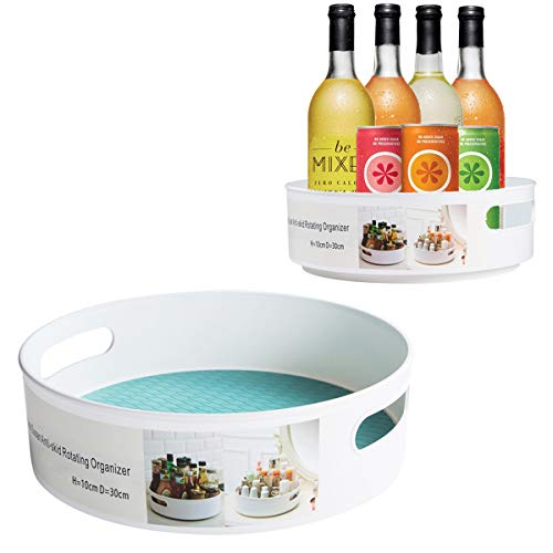 MOKARO 2 Pack Plastic Lazy Susan Turntable with 2 Handle Multifunctional Spice Rack Organizer for Kitchen Cabinet 360 Rotating Food Storage Container for Fridge Countertop (Susan Is What Lazy)