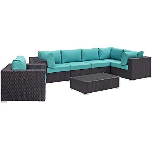 Modway Convene Wicker Rattan 7-Piece Outdoor Patio Sectional Sofa Furniture Set in Espresso Turquoise