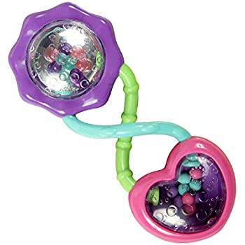 Bright Starts Rattle and Shake Barbell Rattle, Pretty in Pink (Discontinued by Manufacturer)