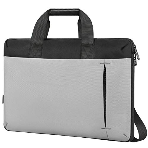 Slim Laptop Bag,17.3 Inch Laptop Carrying Case Compatible for HP Computer,Large Briefcase Sleeve for Women Men,Waterproof Messenger Shoulder Bag Compatible for 17 15.6 in Dell Lenovo Notebook,Gray ()