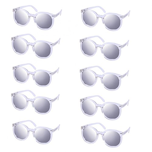 WODISON Womens UV400 Protected Classic Mirrored Lens Clear Frame Party Sunglasses in Bulk Lot 10 - Cheap Sunglasses Wayfarer In Bulk