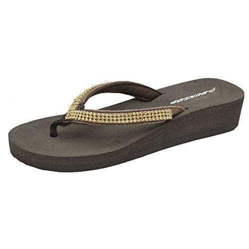 cuña sandalias Toe Marrón Post Mujer bajo Slip On Dunlop v4PxEn
