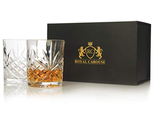 Old Fashioned Whiskey Glass - Heavy & Solid Diamond Cut Whiskey Glasses Set of 2 In Elegant Gift Box (By Royal Carouse)