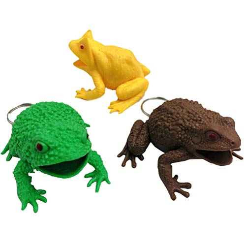 Toyvian 3pcs Plastic Frog Toy Squishy Frog Squeeze Toy with Keychain (Mixed Color Mixed Pattern)