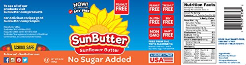 SunButter Natural No Sugar Added Sunflower Butter with hint of salt (Pack of 6) 7 Pack of 6 jars Natural, simple and delicious peanut butter alternative with 7 grams of protein per serving Free from top 8 food allergens: peanuts, tree nuts, milk, eggs, wheat, fish, shellfish and soy