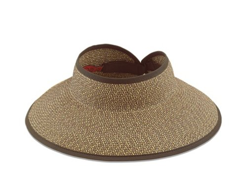 San Diego Hat Company Women's Large Brim Visor O/S Multi Brown One Size