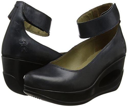 Heli797fly Tobillo Correa Y black Negro Con Mujer Tacon Zapatos Fly De Para London axqpff