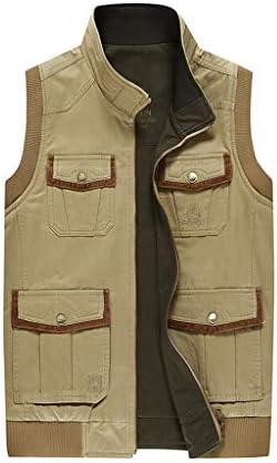 フィッシングベスト 屋外の春と秋の男性のための複数のポケットのジャケットと二重身に着けている写真のベスト綿の釣りジャケット (Color : A, Size : 3XL)