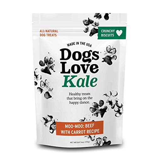 Dogs Love Us Kale Dog Treats, Crunchy Pet Snacks, Wheat Soy and Gluten-Free, Moo Moo- Beef Carrot Recipe, 6 oz. Bag (DLK-00017)