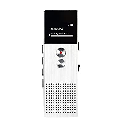 SpyGear-AGPTEK M23 8GB Digital Voice Recorder, Rechargeable Dictaphone/MP3 Player with Built-in Speaker and FM Radio, Silver - AGPTEK