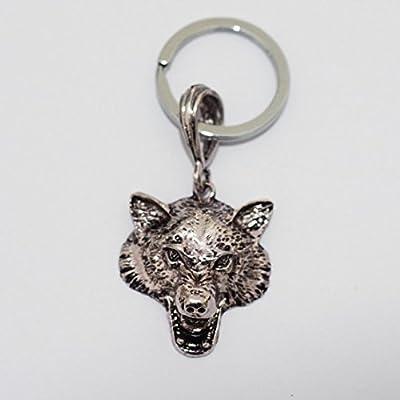 Cabeza de lobo plateado llavero original plata Animal ...