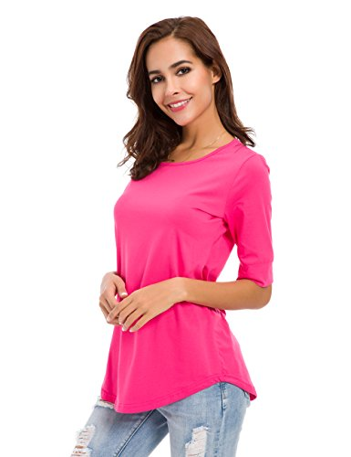 (nordicwinds Womens Casual Cotton Fitted T Shirt Half Sleeve Tee Blouse)