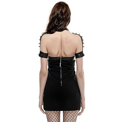 Hanging Taille Niet Tight Hohe Neck Kurzarm Kleid Typ Punk Gr 6 Frauen Gothic Rock en Kleid wq0zxp
