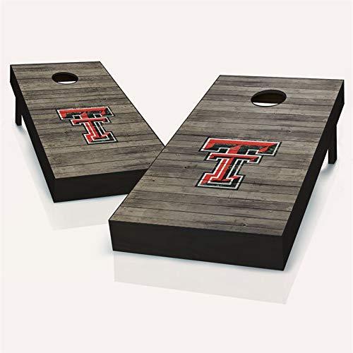 Skip's Garage Texas Tech 赤 Raiders アンティーク調コーンホールボード - サイズとアクセサリーをお選びください - ボード2枚、チームロゴバッグ8枚など