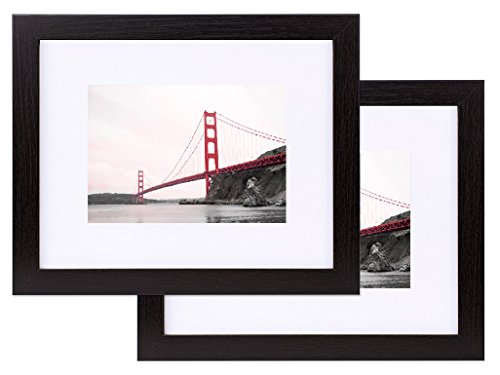 Frametory, 8x10 Black Wood Grain Finish Looking Photo Frame with Ivory Color Mat for 5x7 Picture & Real Glass (2, 8x10)