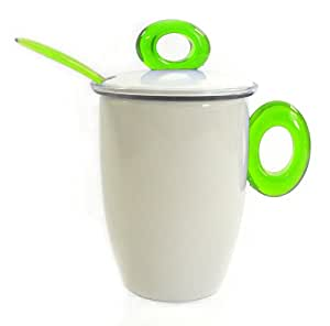Omada M4227VP Green Spot Tisane Cup with Filter Cover and Tea Spoon