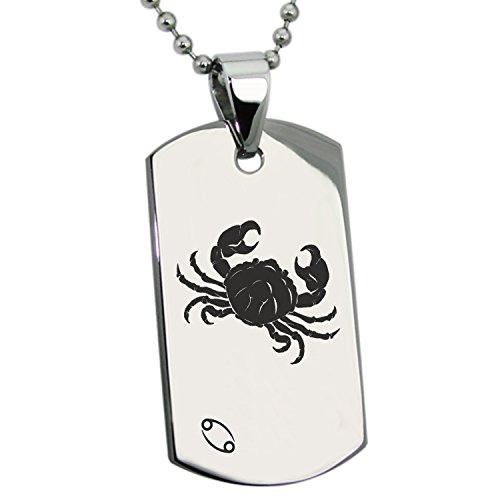 (Stainless Steel Cancer Astrology Zodiac Sign Dog Tag Pendant Necklace)