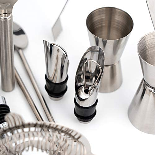 MyTNN Cocktail Set: 26-teilig, Edelstahl, hochwertiges 750 ml Cocktailshaker Set, Martinishaker, Barkeeper Set, Cocktail Shaker (26 Teile ohne Bambus ständer)