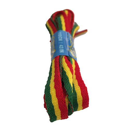 Big Laces Flat Laces - Rasta Red Yellow Green Shoelaces - 10mm wide - 90cm to 180cm long (180cm)