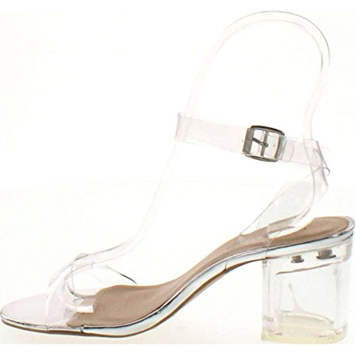 f3abf61f20fc4d free shipping Top Moda Womens Ivan-1 Lucite Clear Strappy Block Chunky High  Heel Open