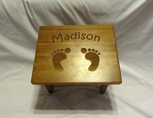 Custom Engraved Wooden Toddler Step Stool- Footprints