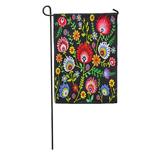 Semtomn Garden Flag Floral Folk Pattern Flowers Polish Poland Branch Color Culture Drawing Home Yard House Decor Barnner Outdoor Stand 12x18 Inches Flag ()