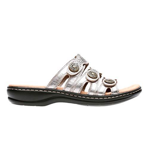 CLARKS Women's Leisa Grace Sandal, Pewter Leather, 7 Medium US