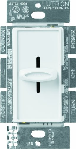 Lutron S-600H-WH Skylark 600-Watt Single-Pole Slide-to-Off Dimmer, White