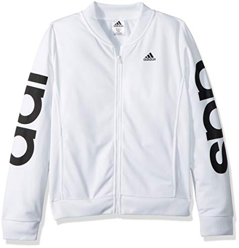 adidas Girls' Big' Bomber Jacket, White/W, XL (14/16) -