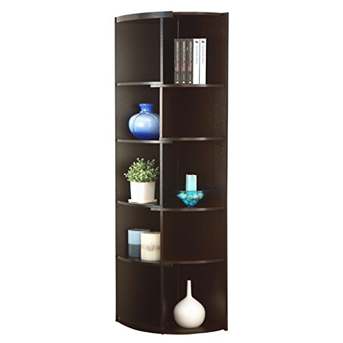 New Laminate Bookshelves Brendi 70.75'' Bookcase, Corner Bookcase, Corner Shelf (Black/Cappuccino) by Bookcases