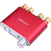 Yeeco Hifi Mini Bluetooth Amplifier 50W+50W DC 9-24V Dual Channel Wireless Bluetooth Stereo Audio Receiver Power Amp Ampli Board with US-type Power Supply Adapter for Home Sound Audio System Computer Laptop (Red)