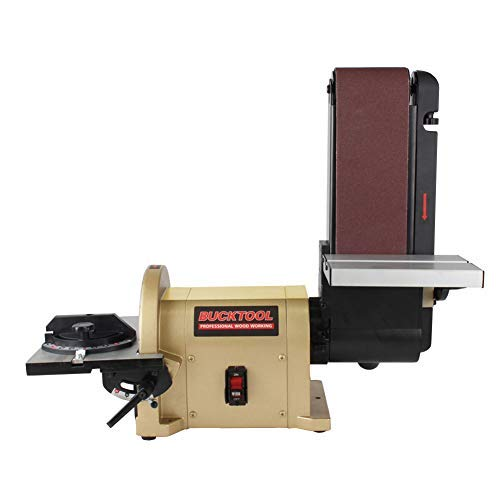 BUCKTOOL BD4801 Bench Belt Sander 4 in. x 36 in. Belt and 8 in. Disc Sander with 3 4HP Direct-drive Motor