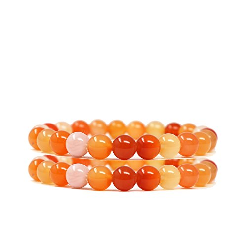 Child Genuine Agate - Genuine Multi Color Agate Crystal Beaded Bracelets Small Set Natural Gemstone Precious Stone Stretch Yoga Chakra Balance Energy Bracelet Healing for women girls Stress Anxiety Relief, Orange positive