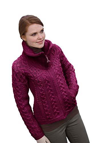Irish Merino Wool Double Collar Zipper Aran Sweater, Raspberry M