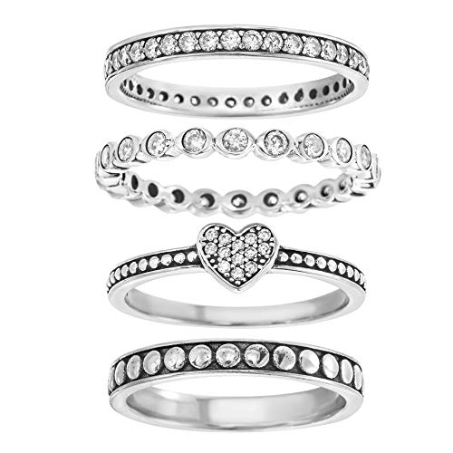 (Willowbird Oxidized Sterling Silver Multi-Pack Cubic Zirconia Stackable Eternity Ring for Women Set (Heart Size)