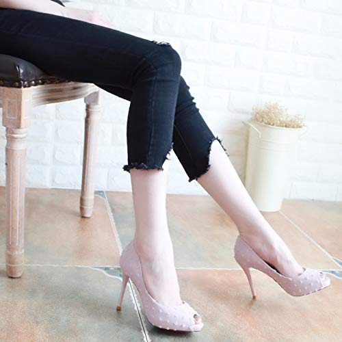 10Cm Thin And Pink KPHY Heel Sexy Black Autumn Thirty And Thin Shallow Five High Shoes Mouth Fish Shoes Shoes Fresh In g8zxqp