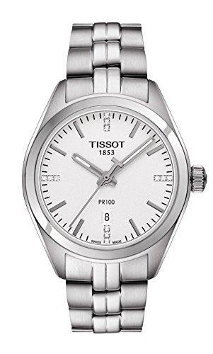 Tissot Women's 'Pr 100' Swiss Quartz Stainless Steel Dress Watch, Color Silver-Toned (Model: T1012101103600)