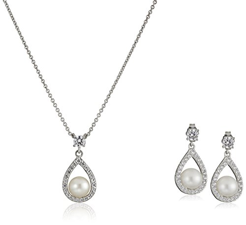 Platinum Plated Sterling Silver Cubic Zirconia Freshwater Cultured Pearl Drop Pendant Necklace and Earrings Jewelry Set