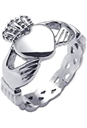 KONOV Stainless Steel Celtic Claddagh Heart Crown Mens Womens Love Ring, Silver