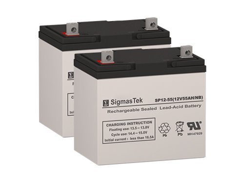 Golden Technology Avenger 4 Wheel Scooter Battery Replacement Set by SigmasTek - 2x 12V 55AH Batteries by SigmasTek