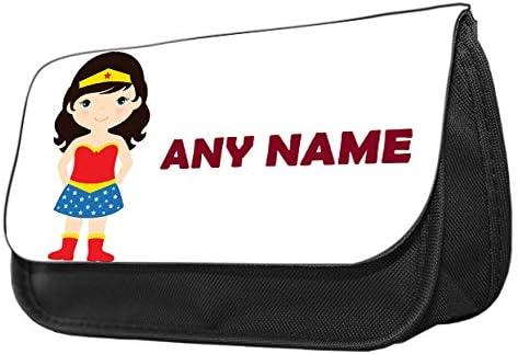 Estuche personalizado de Hiros para lápices con temática de Wonder Woman, estuche de maquillaje, personalizable para regalo de vuelta a la escuela, neceser de viaje, bolsa de cosméticos, organizador de artículos de