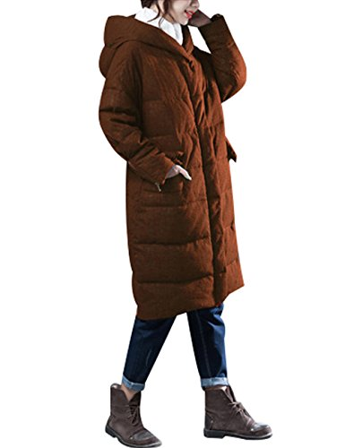 Zoulee Women's Winter Thick Warm Down Parka With Hooded Front Two Pockets Style 1 Caramel Colour XL by Zoulee (Image #3)