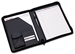 Dacasso Leather Deluxe Letter-Size Zip-Around Portfolio, Black (E1002)