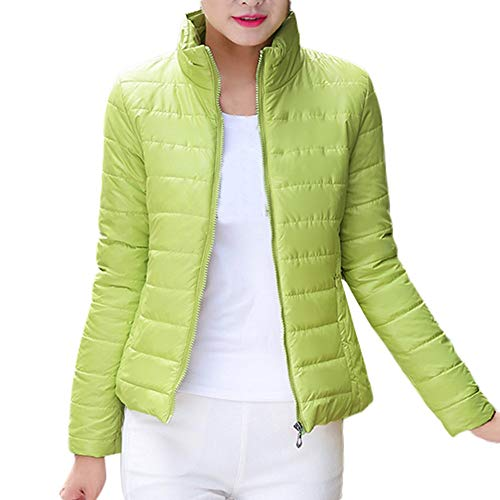 Shirred Zebra - knitting needles,Kulywon Womens Warm Coat Stand Collar Jacket Slim Winter Parka Outwear Coats(L/US 8,Grass Green)