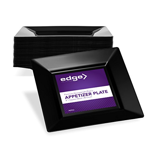 EDGE PLASTIC PARTY DISPOSABLE PLATES | 8 Inch Black Hard Square Wedding Appetizer Plates, 40 Ct | Elegant & Fancy Heavy Duty Hard Party Supplies Salad Plates for Holidays & Occasions by Prestee