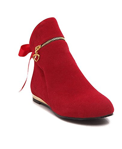 Chelsea Autumn Shoes Maybest Flat Red Zip Winter Boots Heel Womens Low Block Shorty Ankle Ladies zHaqB