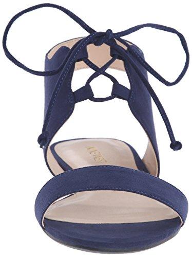 Nine West Jadlin cuero plano de la sandalia Blue