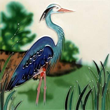 JGS Blue Heron Decorative Art Tile Trivet Wall Art 8x8 ()
