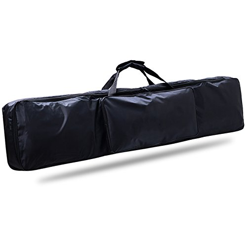 88 Key Piano Keyboard Gig Bag, Waterproof 88-Key Keyboard Case Nylon Extra Pockets for Electric Piano with Adjustable Portable Backpack Straps 52 x 12 x 6in ()
